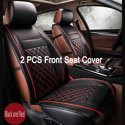 2PCS Luxury PU Leather Front Car Seat Cover Set Cushion Black Red Mix Breathable