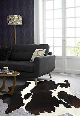 COW HIDE SKIN BLACK WHITE NATURAL PREMIUM FLOOR RUG Size Approx 4.5m²  B4 *NEW*