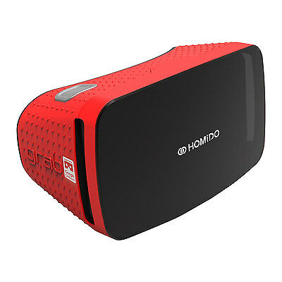 Homido GRAB Virtual Reality VR Headset for Smartphones Apple Android Red New