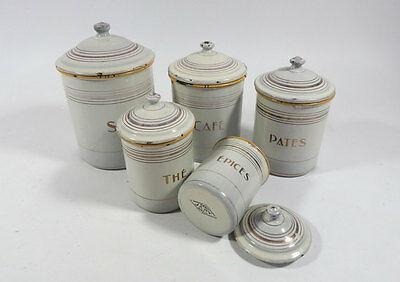 5 French Vintage Enamelware Canisters Complete Set with Lids Cream Yellow & Gold