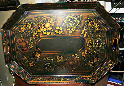 Antique 1850's Signed 8 Sided Toleware Floral Platter Tray Heart Fingerholds