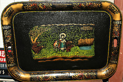 1800's Folk Art Toleware Painted Victorian Girl & Cat in Garden Platter Tray