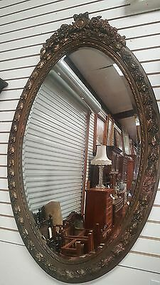 Antique French Louis Philippe Oval Carved Beveled Mirror 5 ft x 3 ft Dark Gold