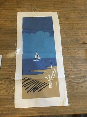 UNFRAMED Vintage Marushka Boat on the sea Linen Textile Panel 10x25 Picture