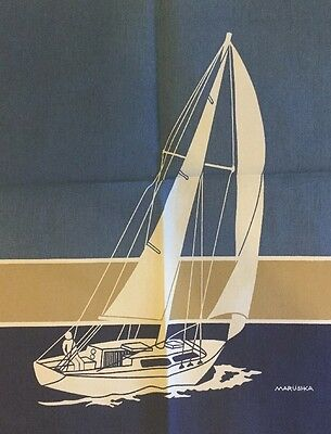 UNFRAMED Vintage Marushka Boat on the sea Linen Textile Panel 18x22 Picture