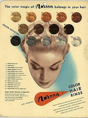 """Beautiful Vintage NOREEN COLOR HAIR RINSE Cardboard Sign 8-1/2 x 11"""" 1950-60's"""