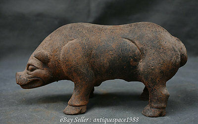 "9.2"" Antique Chinese Iron Fengshui Zodiac Year Pig Swine Hog Animal Lucky Statue"