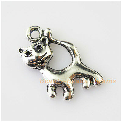 10Pcs Antiqued Silver Tone Lovely Animal Cat Charms Pendants 13x23mm