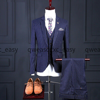 Men's Blue Wedding Suits Formal Groom Tuxedos Groomsmen Prom Suits Custom Made