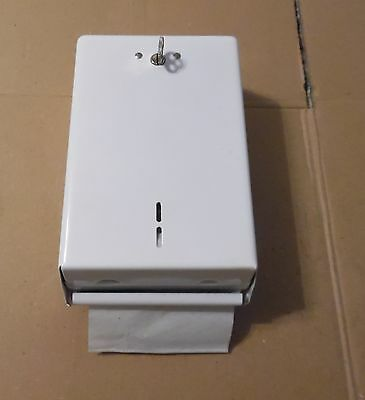 N.O.S. Fort Howard Vintage White Metal Industrial Toilet Paper Dispenser w/ Key