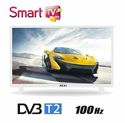 "Tv Led 32"" Akai Aktv3222T2 Full Hd Smart White Android Televisore Dvb-T2"