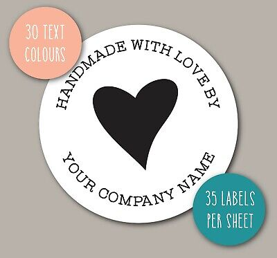 STICKY LABELS small business handmade with love personalised company name WS28