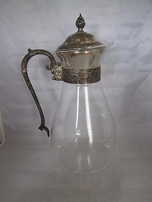 Vintage Glass Decanter Carafe Coffee Tea W/ Silverplate Lid & Handle