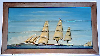 Antique Large Late 19th Century Ship Diorama Picture NR