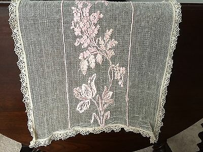 """Beautiful Antique Embroidered Lace Table Runner 46.5x13.5"""""""