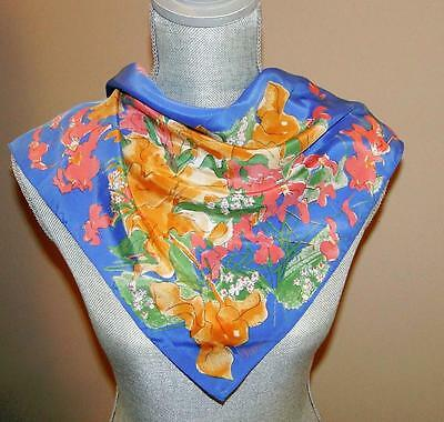 VTG VERA NEUMANN SILK SCARF Watercolor FLOWERS FLORAL SIGNED Square BLUE PINK