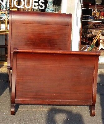 Vintage Sleigh  Bed  Solid Mahogany  Twin  Size  Circa 1920'
