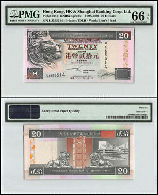 Hong Kong 20 Dollars, 1998-2002, P-201d, UNC, Lion's Head, PMG 66 EPQ