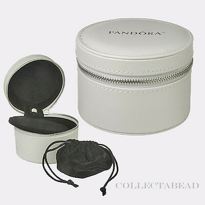 Authentic Pandora White Circle Travel Box w/ Pouch *NO JEWELRY INCLUDED*