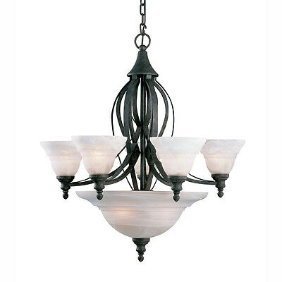 Tannery Bronze And Alabaster Glass Chandelier
