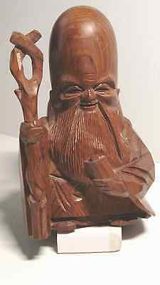 COLLECTABLE - VINTAGE JAPANESE YEW WOOD CARVING - Sitting Buddah ICHI-ITTO-BORI