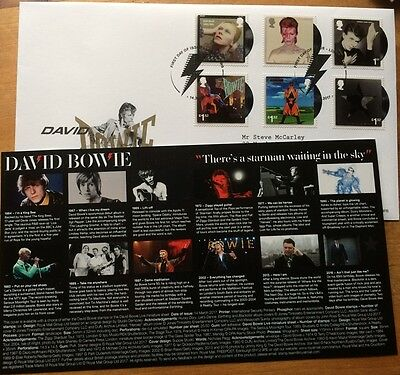 David Bowie Stamps and card Official First Day Cover  Postmark SW9 2017  RARE !!