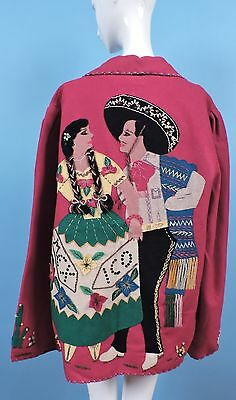 1940'S Mexican Red Wool Jacket W Dancing Couple Applique Back & Label