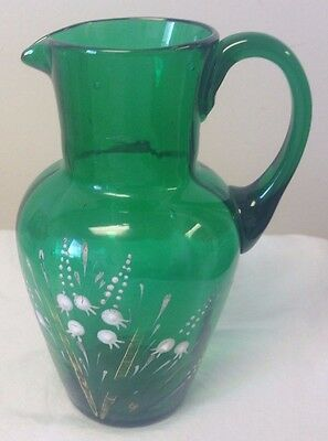 Vintage Hand Blown Hand Painted Green Pitcher Vase With Handle