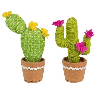Fabric Artificial Cactus Plant Pot Planter House Faux Knitted Ornament Desk Toy