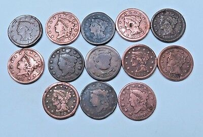 (13) Mixed Coronet Head + Braided Hair Large Cent // 13 Coins // (LCL74)