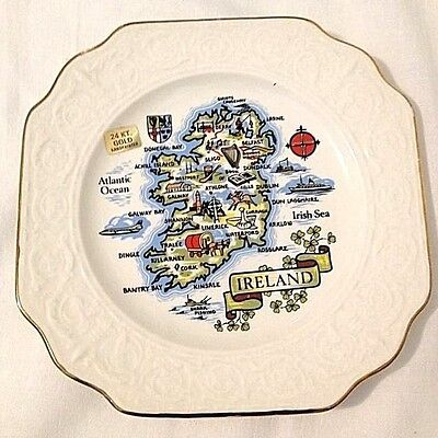 Map of Ireland Plate Carrigcraft Pottery County Cork Ireland Vintage Gold Trim