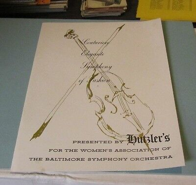 1966 Hutzler's Department Store Charity Fashion Show Program Baltimore Symphony