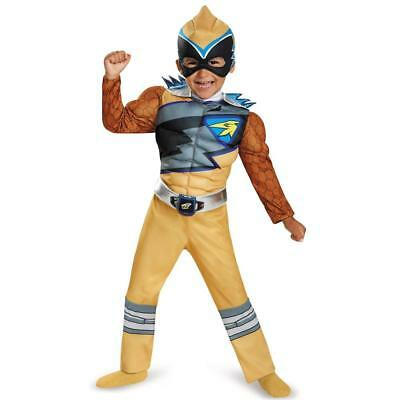 NEW Power Rangers Dino Charge: Gold Ranger Muscle Deluxe size S 2T Kids Costume