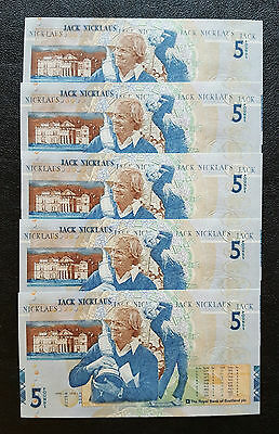 Jack Nicklaus; ROYAL BANK OF SCOTLAND five pound notes;2005; five consecutive #s