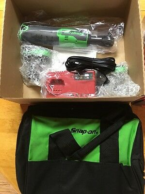 "New Snap On 14.4V Green 3/8"" Drive Cordless Ratchet Set"
