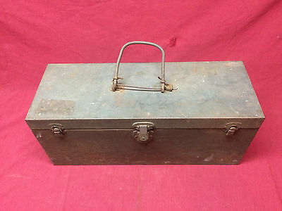Vintage Military Steel Chest W/ Tray 22 inch OD Green Tool Box Hand Carry 28201