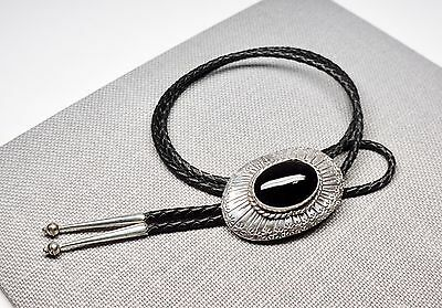 Large Vintage Sterling Silver & Onyx Bolo Tie Braided Leather Silver Tips