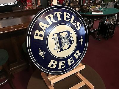 """1930's -40's BARTELS BEER Co. Syracuse NY Stamped Tin Sign """"Watch Video"""""""