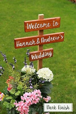 Welcome to our Wedding sign Hand painted personalised wooden rustic natural wood