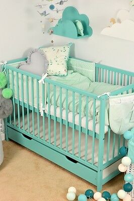 BABY Cot Bed Set With Storage Drawer Wood White MINT Mattress