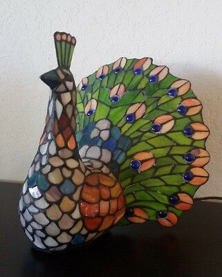 Vintage PEACOCK 2003 Tiffany Style Multicolor TABLE LAMP 10-1/2""