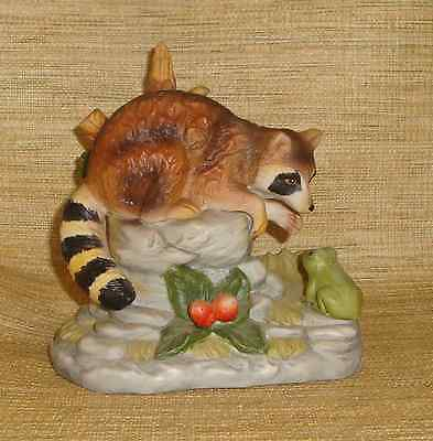 Porcelain Raccoon Figurine On Rocks with Tree Frog Unsigned