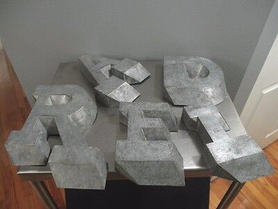 Vintage Lot of 5 Handmade Metal Three Dimensional Letters