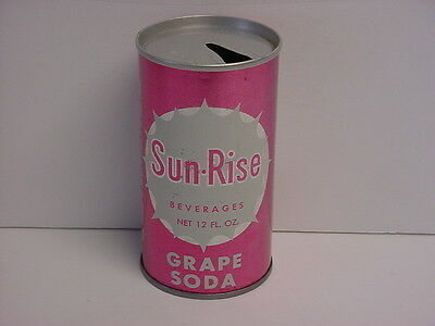 Vintage Sun-Rise Grape Soda Straight Steel Pull Tab Pop Can Top Opened