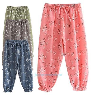 Kids Children Girls Cotton Linen Pants Trousers Flower Print Bloomers Clothes