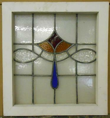 """OLD ENGLISH LEADED STAINED GLASS WINDOW Sweet Swag Design 19.25"""" x 21"""""""