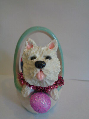 Hand Sculpted****westie West Highland White Terrier In Ceramic Easter Basket****