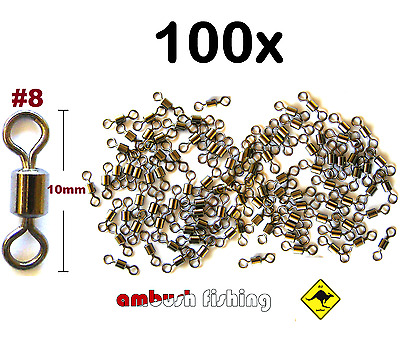 100 ROLLING FISHING SWIVELS SIZE #8 / TEST 19kg FISHING TACKLE BULK Whiting Dart