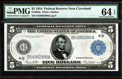 Fr.859A 1914 $5 CLEVELAND FRN + PMG CHOICE NEW UNCIRCULATED 64EPQ VERY RARE!