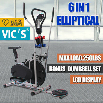 6 IN1 Elliptical Cross Trainer Exercise Bike Machine Home Gym Equipment Bicycle